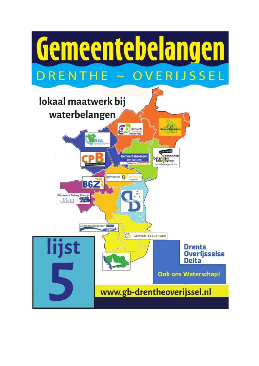 Lokale partijen Steenwijkerland sluiten zich aan bij waterschapspartij